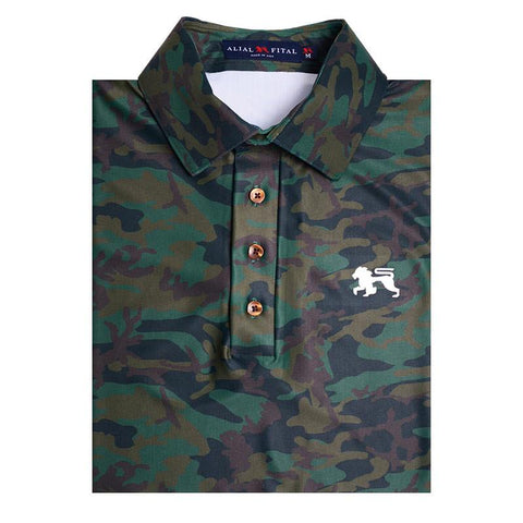 Green Camo Jungle Polo - Alial Fital American made polos for men - 1