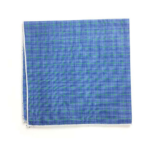 Green Blue Check Pocket Square - Alial Fital American made polos for men