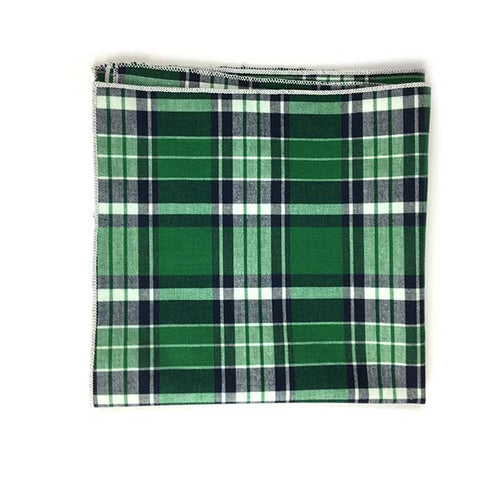 Green Navy Plaid Pocket Square - Alial Fital American made polos for men