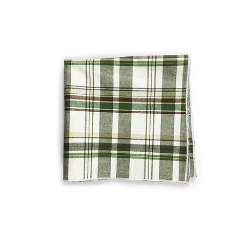 Green Plaid Pocket Square - Alial Fital American made polos for men