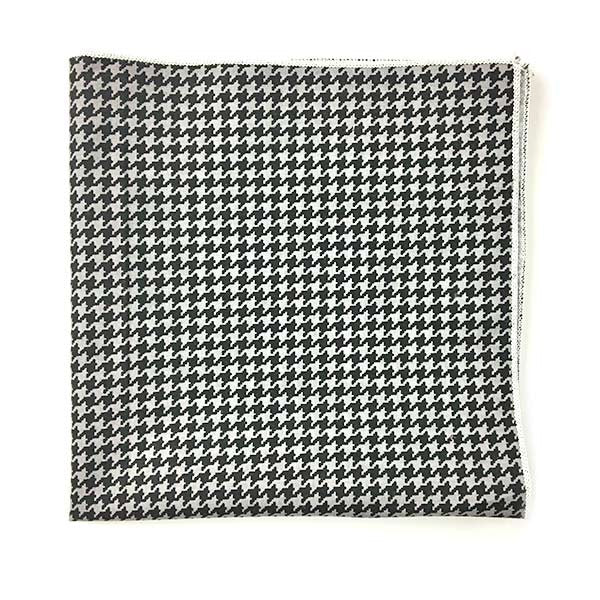 Grey Black Houndstooth Pocket Square - Alial Fital American made polos for men
