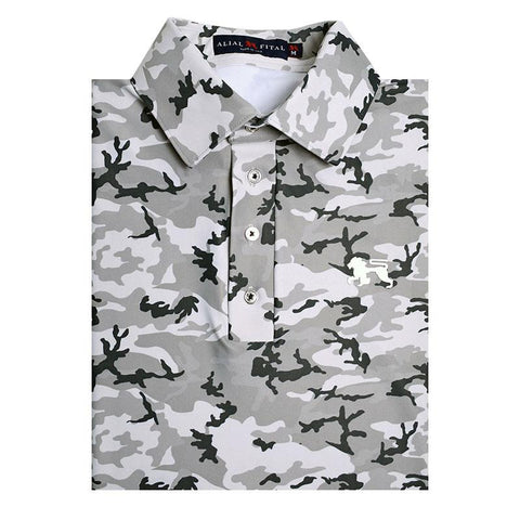 White Camo Jungle Polo - Alial Fital American made polos for men - 1