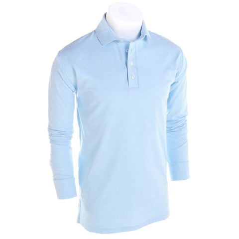 Lt. Blue Solid Long Sleeve Polo - Alial Fital American made polos for men - 1