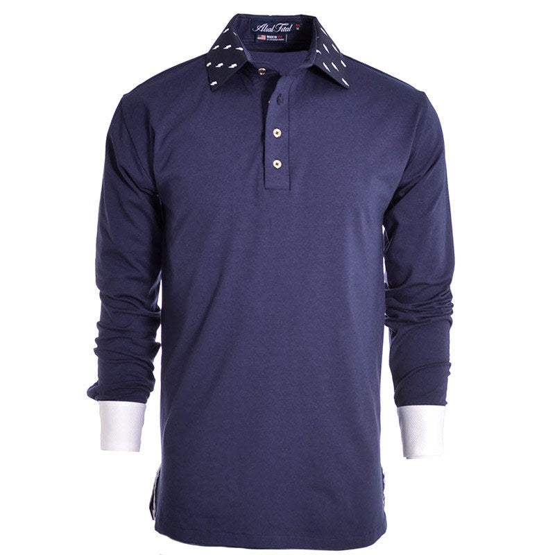 Lightning Navy Long Sleeve Polo - Alial Fital American made polos for men - 1