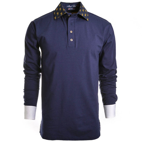 Pride Navy Long Sleeve Polo - Alial Fital American made polos for men - 1