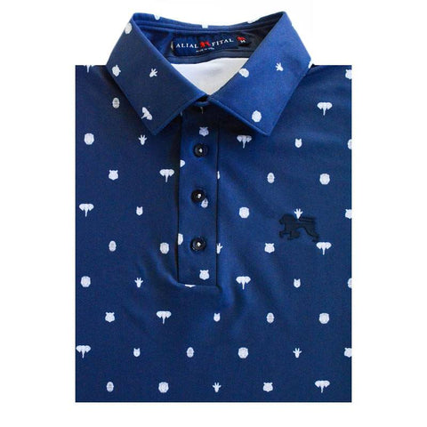 Navy Pin Jungle Polo - Alial Fital American made polos for men - 1