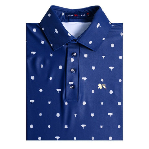 Navy Pin Jungle Long Sleeve Polo - Alial Fital American made polos for men - 1
