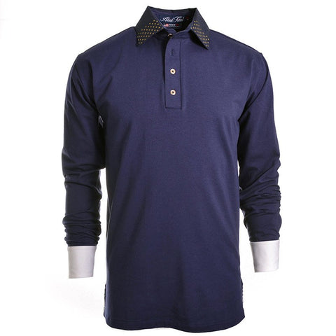 Stars Navy Long Sleeve Polo - Alial Fital American made polos for men - 1