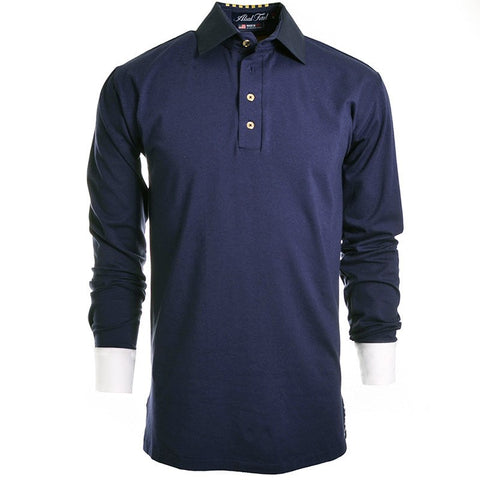 Stripes Navy Long Sleeve Polo - Alial Fital American made polos for men - 1