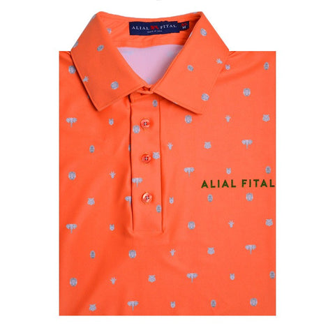Orange Pin Jungle Polo - Alial Fital American made polos for men - 1