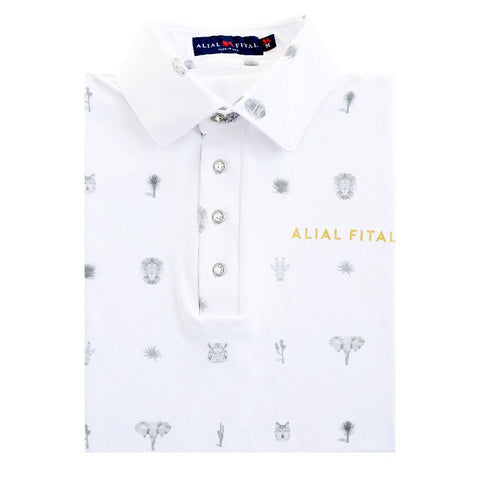 Palm Springs Jungle Long Sleeve Polo - Alial Fital American made polos for men - 1