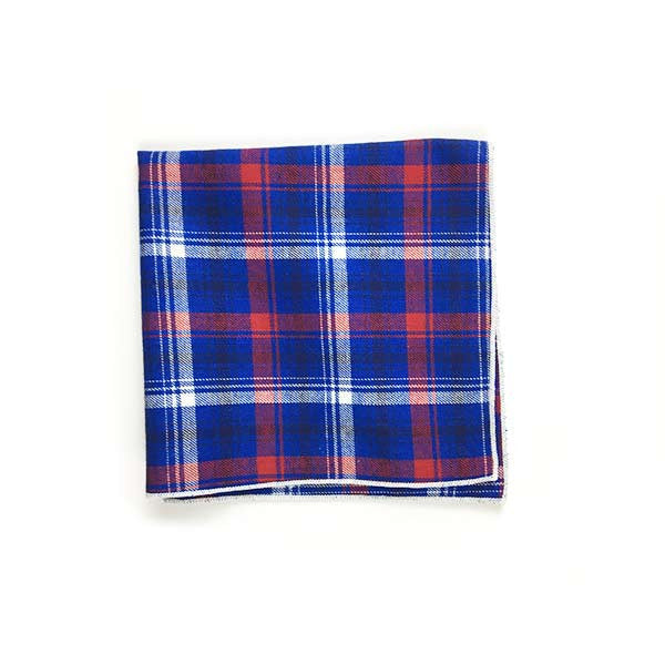 Red Royal Plaid Pocket Square - Alial Fital American made polos for men