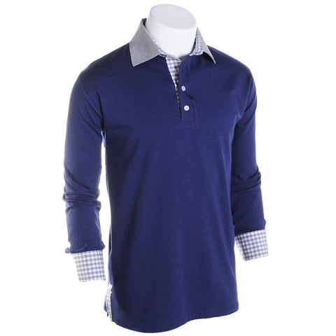 Rhyme or Reason Long Sleeve Polo - Alial Fital American made polos for men - 1