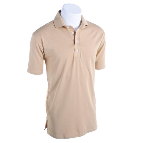 Tan Solid Polo - Alial Fital American made polos for men - 1