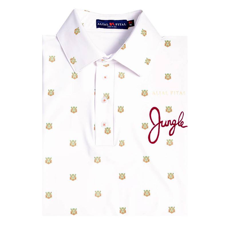 Tigers White Jungle Polo - Alial Fital American made polos for men - 1