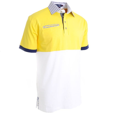 Cloud & Sea Yellow Polo - Alial Fital American made polos for men - 1