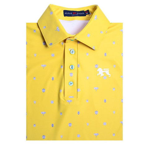 Yellow Pin Jungle Polo - Alial Fital American made polos for men - 1