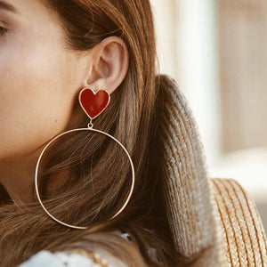 Love earrings fashion punk style large circle earrings for women