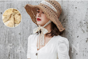 Lace tie with straw hat