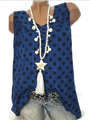 Round Neck Dot Print Sleeveless T-Shirt