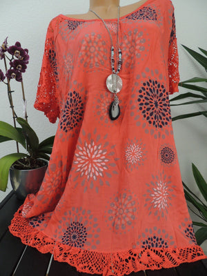 Large Size Lace Printed T-shirts