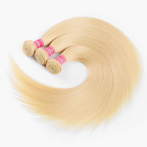 Blonde Color Straight Virgin Human Hair 3 Bundles