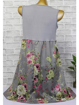 Sleeveless Lace Stitching Print Casual Dress