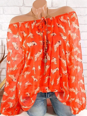 Open Shoulder Crane Printed  Long Sleeve Blouses