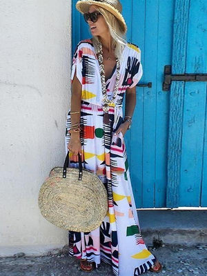 V-Neck  Waist Printed Plain Maxi Dress