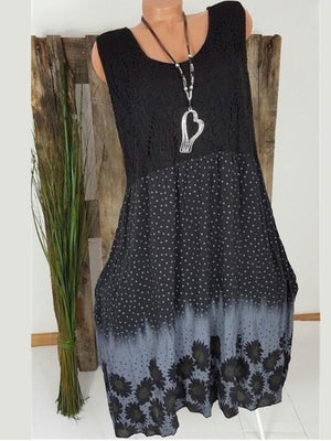 Sleeveless  Polka Dot  Casual Dress