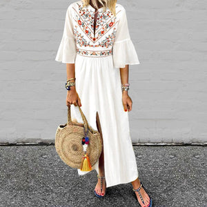 V-Neck Cotton/Linen Printed Maxi Dress