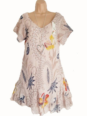Large Size Short Sleeve Print Casual Dress
