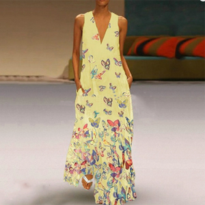 Casual V Neck Printed Colour Sleeveless Maxi Dress