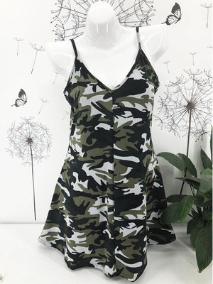 Camouflage Print Sling Dress