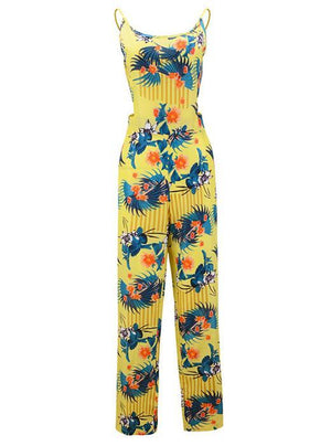 Sexy Bowknot Flower Printed Backless Strap Rompers Jumpsuit