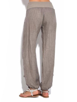 Solid Color Cotton And Linen Pocket Casual Pants