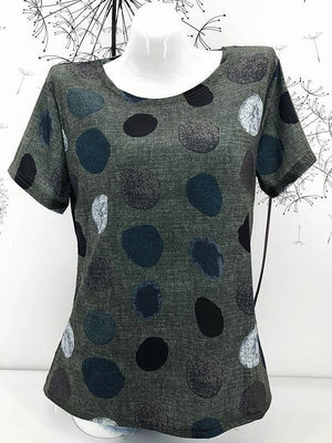 Round Neck Dot Print Short Sleeve T-Shirt