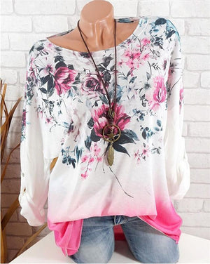 Round Neck Flower Print Gradient Long Sleeve T-Shirt