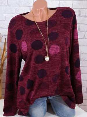 Round Neck Dot Print Long Sleeve T-Shirt