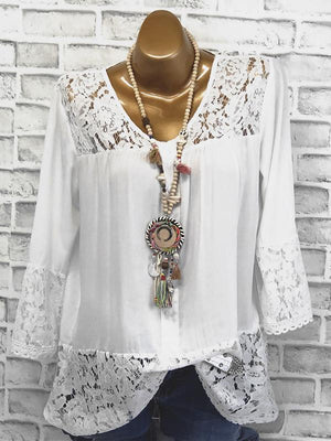 Solid Color Round Neck Lace Stitching T-Shirt