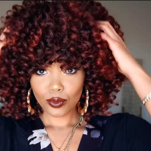 2019 HOT SALE RED AFRO CURLY  BOB SHORT WIG