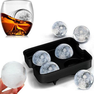 Four Holes Silicone Whiskey Ice Hockey Mold Ice Cube Tray With Lid