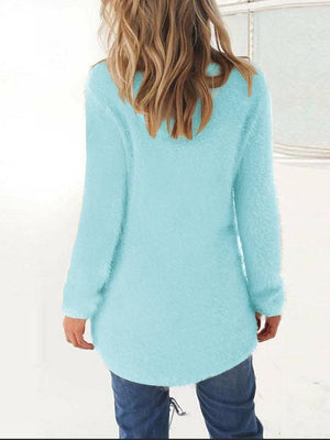 Round Neck Asymmetric Hem Plain Sweaters