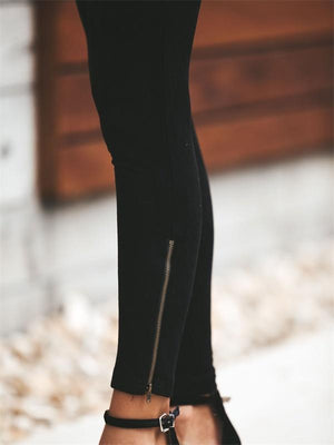 High-wasited zipper slim-fit pencil long pants