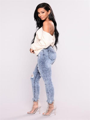 Broken hole high-waisted elastic pencil denim pants