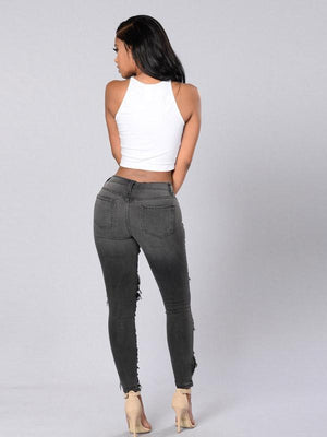 Broken hole distressing high-waisted elastic pencil denim pants