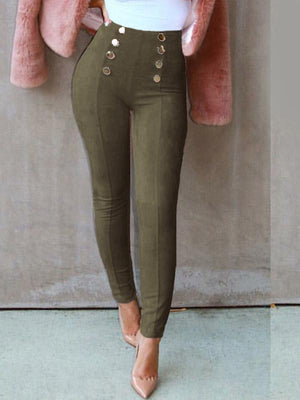 Suede fabric double-breasted pencil pants