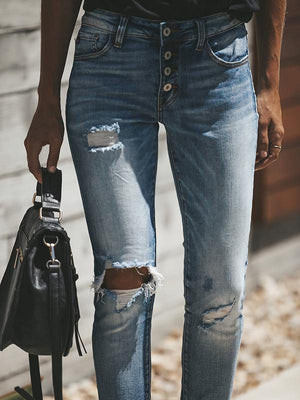 Ripped washable 4-button middle & high waist straight jeans