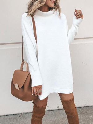 High-neck loose mid-length sweaters