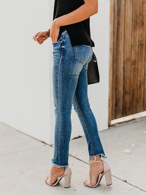 Ripped rough selvedge pencil jeans